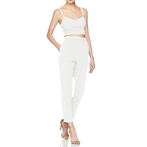 Black Halo Womens Pant Sets White Porcelain Size 2 Two-Piece Cropped