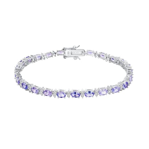 Oval-Cut Tanzanite Gemstone Tennis Bracelet, Sterling Silver