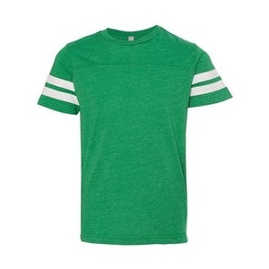 Youth Football Fine Jersey Tee - Vintage Green/ White - M