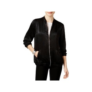 NY Collection Womens Bomber Jacket Satin Shimmer Trim