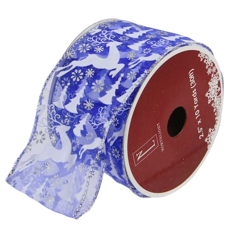 "Blue Winter Wonderland Flying Reindeer Wired Christmas Craft Ribbon 2.5"" x 10 Yards"