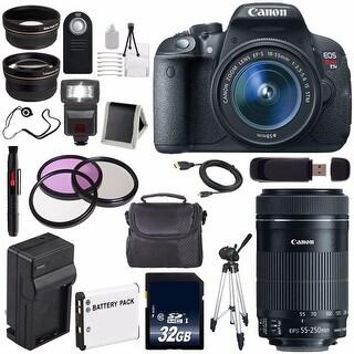 Canon EOS Rebel T5i 18 MP CMOS Digital SLR Camera w/ EF-S 18-55mm Lens (International Model) + Canon EF-S 55-250mm Lens Bundle