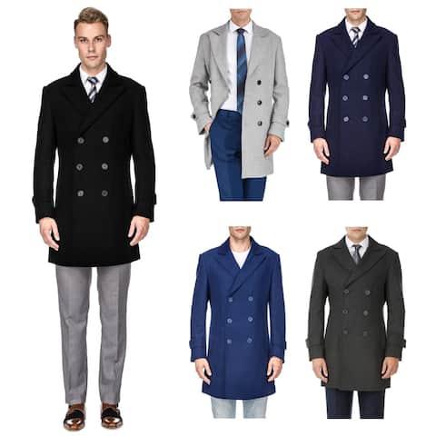 Braveman Men's Double Breasted Pea Coat Wool Blend Dress Jacket