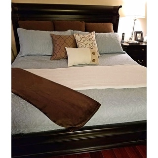 Laura Ashley Felicity Baby Blue Cotton 3-piece Quilt Set