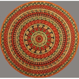 "Handmade 100% Cotton Elephant Mandala Floral 81"" Round Tablecloth Blue Orange Green Cream"