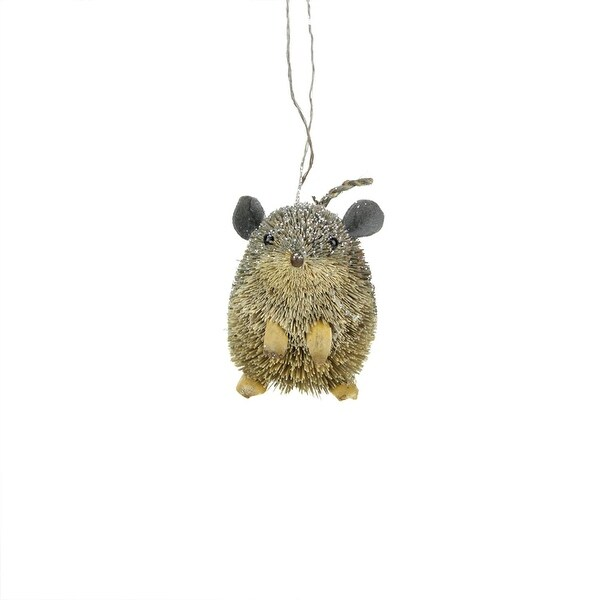 "3"" Storybook Garden Bristled Mocha Brown Mouse Christmas Figure Ornament"