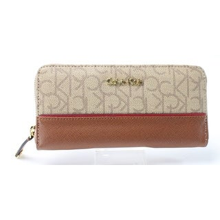 Calvin Klein NEW Brown Khaki Saffiano Leather Monogram Clutch Wallet