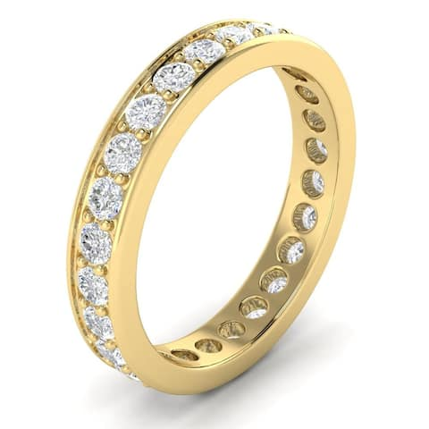 1.50 ctw Prong-Set Round Cut Diamond Eternity Wedding Band 14kt Gold