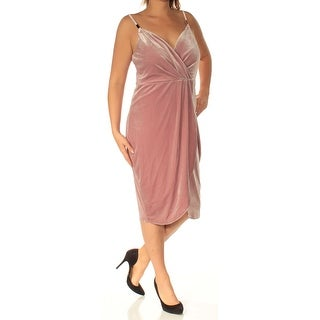 Womens Pink Spaghetti Strap Below The Knee Fit + Flare Evening Dress Size: 14