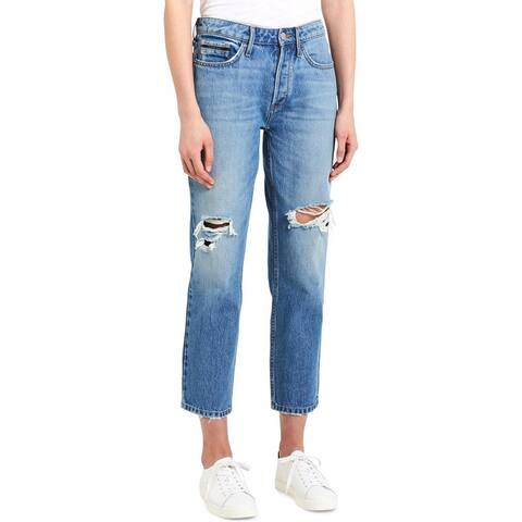 Calvin Klein Jeans Womens Cropped Jeans Denim Light Wash