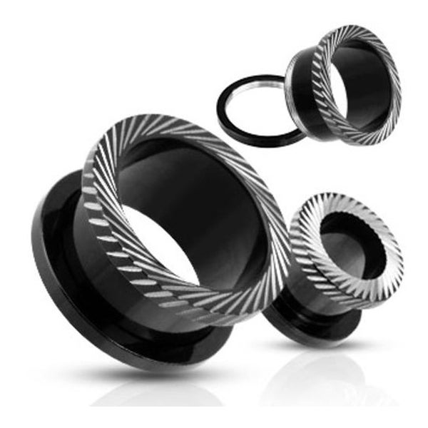 Blackline Titanium Anodized Overlay Slant Mill Grooved Hollow Screw-Fit Tunnel Plug (Sold Individually)