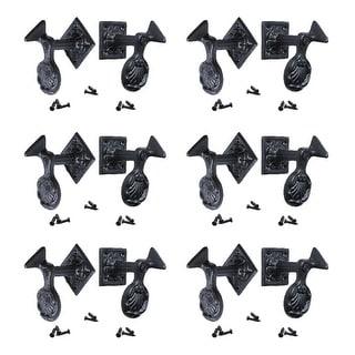 6 Pair Shutter Dog Black Wrought Iron Seashell Wood Mount