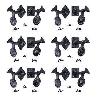 6 Pair Shutter Dog Black Wrought Iron Seashell Wood Mount Renovator's Supply