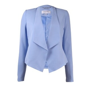 Calvin Klein Women's Petite Fly Away Open Front Blazer - Sky blue
