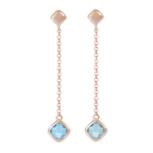 Forever Last 18 k Gold Overlay Blue Topaz Dangle Earrings. Opens flyout.
