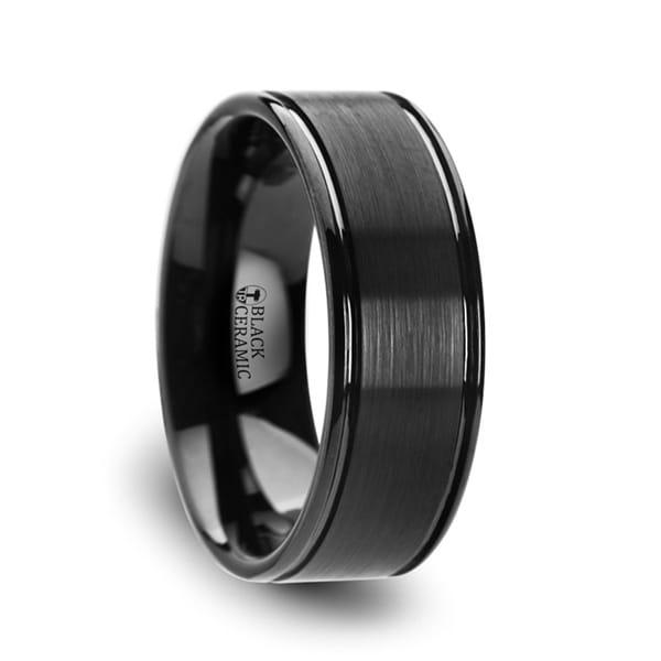 THORSTEN - BLACKHEART Flat Brushed Finish Center Black Ceramic Wedding Band with Dual Offset Grooves and Polished Edges