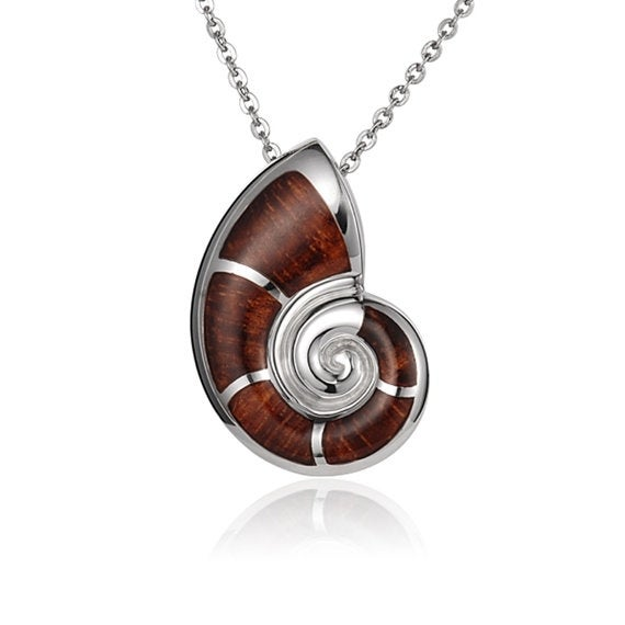 "Nautilus Seashell Necklace Koa Sterling Silver Pendant 18"" Chain"