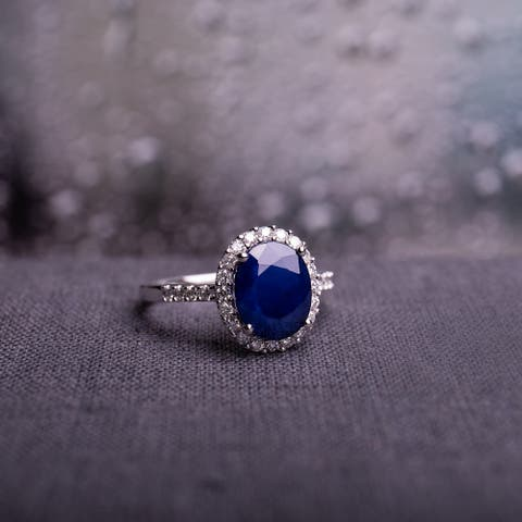Diffused Sapphire and 2/5ct TDW Diamond Oval Halo Ring in 14k White Gold by Miadora