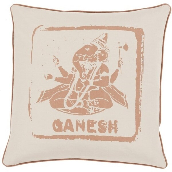 "20"" Tawny and Oat Brown Ganesh Big Kid Blocks Square Throw Pillow - Down Filler"