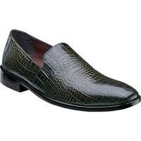 Stacy Adams Men's Galindo Plain Toe Slip On 24996 Olive Leather