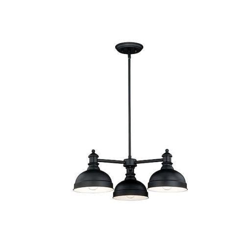 Vaxcel Lighting H0169 Keenan 3 Light Single Tier Chandelier with Black Metal Shades