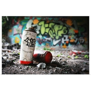 """""""Piece of evidence - empty paint can in front of graffiti-covered wall"""" Poster Print"""