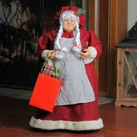 """24"""" Mrs. Claus the Chef Standing Christmas Figure with Wine and Bag of Treats - RED"""