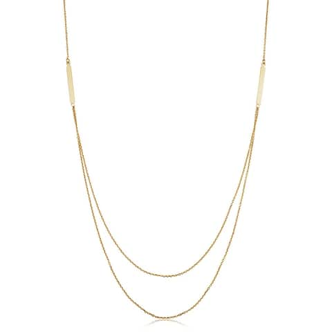 14k Yellow Gold Bar Adjustable Length Layer Necklace (adjusts to 17 or 18 inches)
