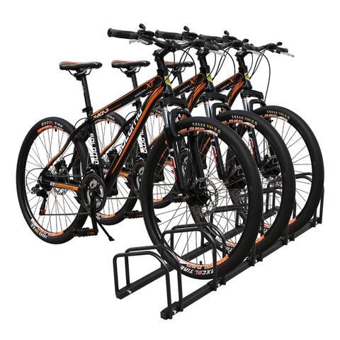 5 Bicycle Floor Parking Storage Stand, Garage Bike Rack Parking