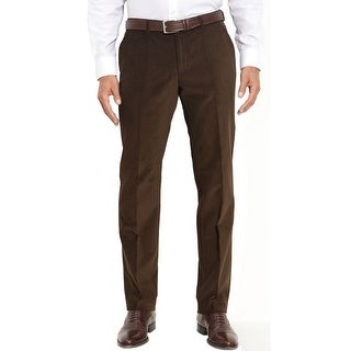Ralph Lauren Mens Dark Brown Corduroy Pants Flat Front Trousers Hemmed