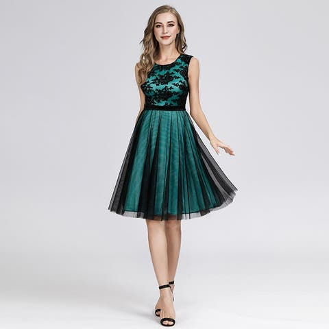 Ever-Pretty Womens Fit and Flare Tulle Short Homecoming Party Bridesmaid Dress 03091