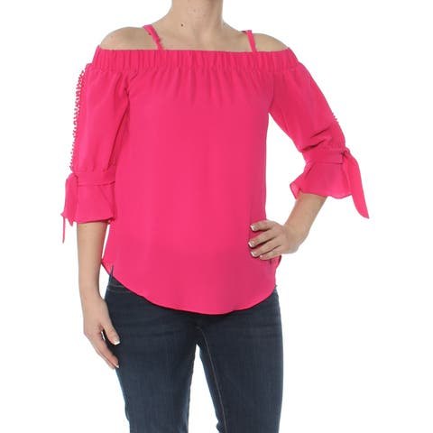 BCX Womens Pink Split-sleeve Off Shoulder Blouse Top Size: XS