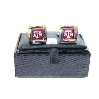 NCAA Texas A&M Aggies Square Cufflinks with Square Shape Logo Design Gift Box Set