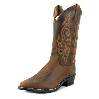 Justin Classic Western Boot Youth Pointed Toe Leather Brown Western Boot