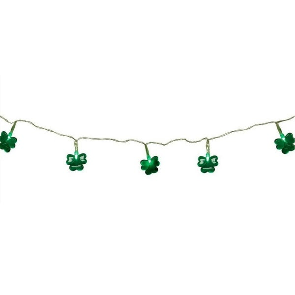 Set of 20 Green LED Mini St Patrick's Day Shamrock Christmas Lights with Timer - Clear Wire