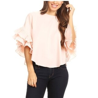 Ontwelfth Women's Pink Double Layer Ruffle Flared Sleeve Trendy Top
