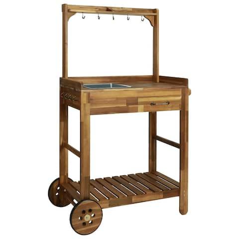 "vidaXL Garden Kitchen Trolley Solid Acacia Wood 36.2""x17.1""x55.7"""