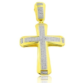 1/2ctw Diamonds Mens Cross Charm 49mm Tall Yellow Gold-Tone Silver 2 Inch Tall(i2/i3, I/j) By MidwestJewellery - White