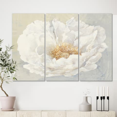 Designart 'White Serene Peony' Cottage Canvas Artwork