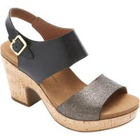 Rockport Women's Vivianne 2 Part Slingback Black Multi Leather