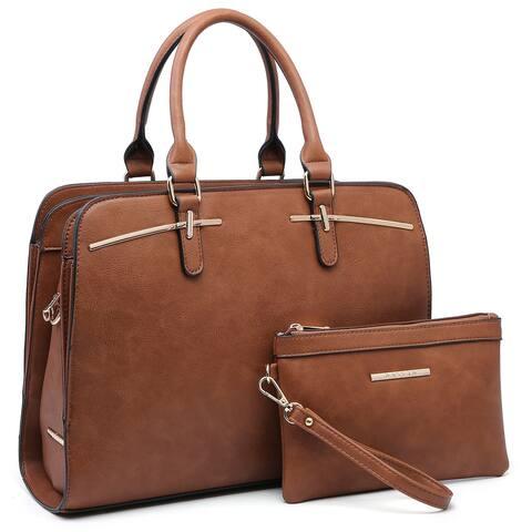 Women Satchel Handbags Shoulder Purses Top Handle Work Bags with Wristlet