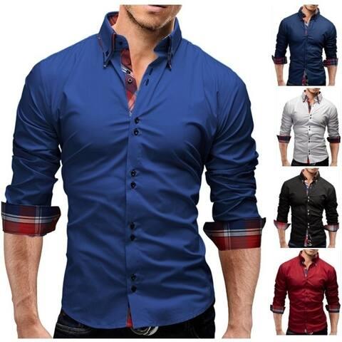 Men Shirt 2018 SpringBrand Business Men'S Slim Fit Dress Shirt Male Long Sleeves Casual Shirt Camisa Masculina