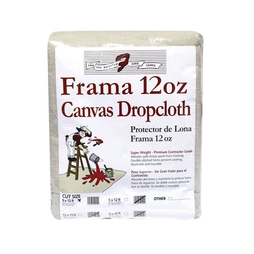 Trimaco 1201 Frama Canvas Dropcloth, 12 Oz, 9' x 12'