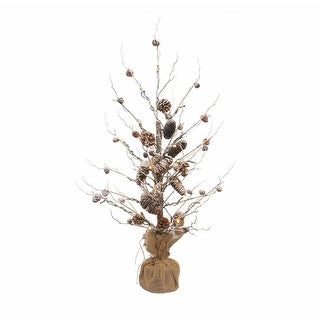 3' Winter Light Pre-Lit Frosted Snowy Pine Cone Artificial Christmas Twig Tree - Warm Clear Lights