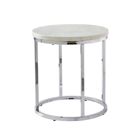 Silver Orchid Eden White Marble Top Round End Table