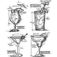 "Tim Holtz Cling Stamps 7""X8.5""-Cocktails Blueprint"