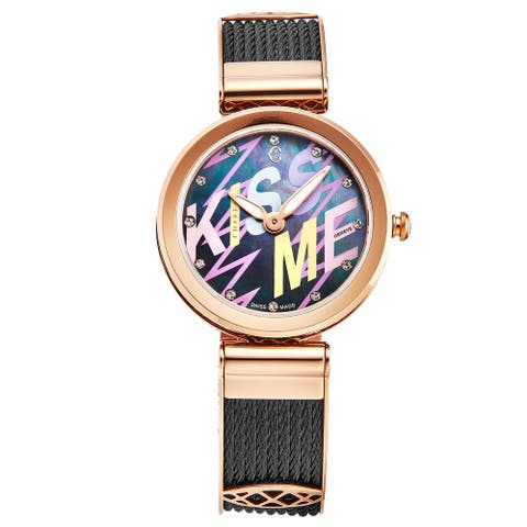 Charriol Women's FE32.302.016 'Forever' Black Graffiti Dial Rose Tone Swiss Quartz Watch