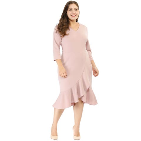 Women's Plus Size Cocktail V-neck Wrap Ruffled Midi Dress