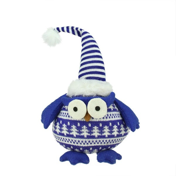 "12"" Chubby Blue and White Plaid Owl with Striped Hat and Winter Sweater Table Top Christmas Figure"