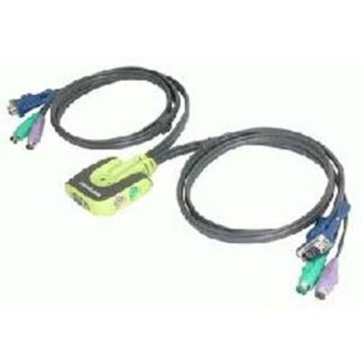 Iogear 2-Port Miniview Micro Ps/2 Kvm Switch With 2 Cables, Gcs62